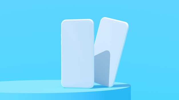 3d render of two smartpones on blue podium and light blue background