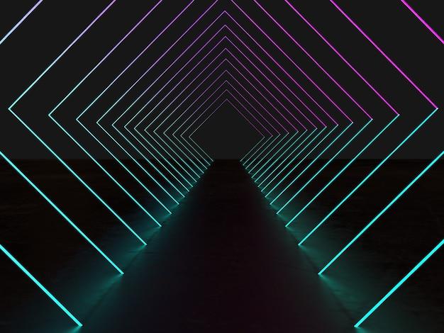 3d визуализация, ультрафиолетовый неоновый квадратный портал, светящиеся линии, туннель, коридор