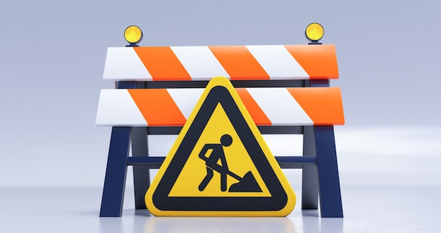道路障壁と白い背景の上のサインと建設中の3dレンダリング