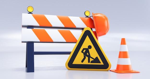 道路の障壁、標識、ヘルメット、白い背景の上の円錐形の建設中の3dレンダリング