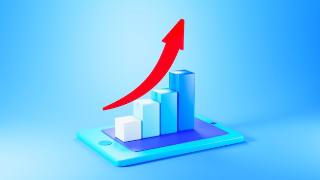 3d render of upgrowing bar graph with red arrow on top on blue background