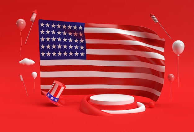 3d render usa flag 4th of july usa independence day concept.