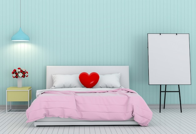 3d render valentine of bed room interior and flip chart.