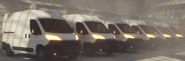 3d render van delivery transportation trucks parked with lights on