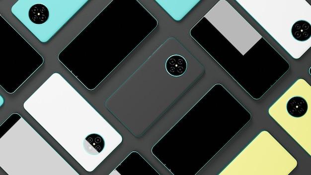 3dレンダリングバリアントスマートフォンティールメタリックフレームと灰色の背景