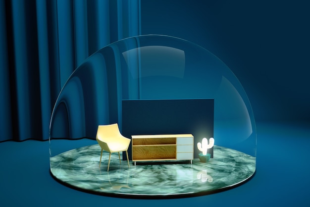 3d render of various pieces of furniture inside a transparent dome. chair, sideboard, cactus, wall. decoration