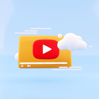 3d визуализация значок видеоплей с облаком на синем фоне. 3d-рендеринг значка игры ведо и иллюстрации облака.