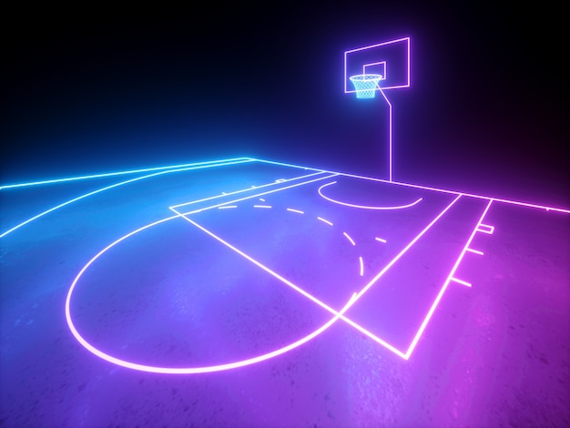 3d 렌더링, 보라색 파란색 빛나는 네온 불빛, 농구 가상 놀이터, 스포츠 필드 구성표, 낚시를 좋아하는 게임의 일부입니다.
