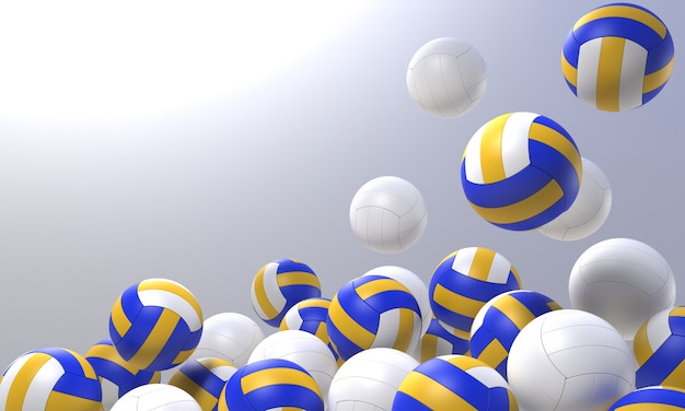 3d render volleyball object with clipping part