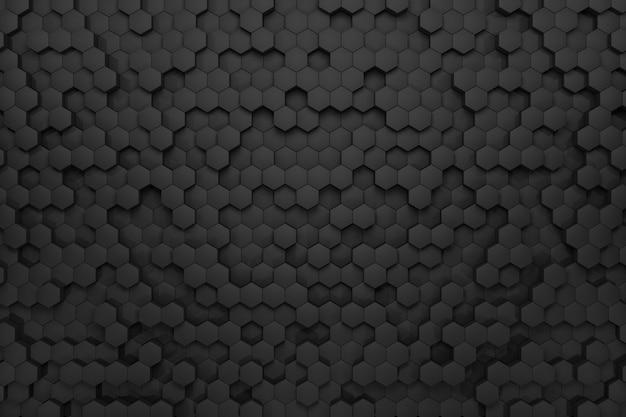 黒の六角形から3dレンダリングボリュームの背景。抽象的な黒い背景。
