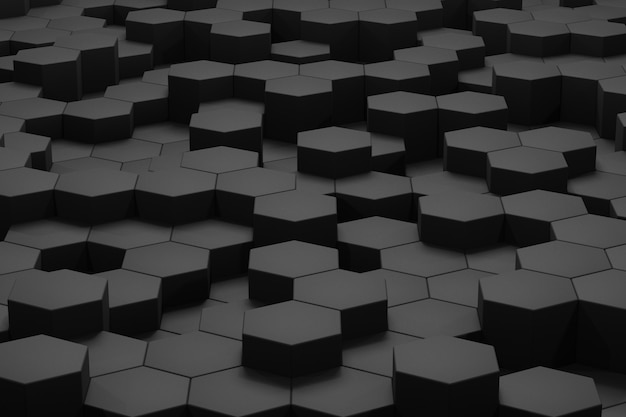 3d render volumetric background from black hexagons. abstract black background.