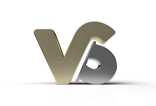 3d render vs company metal letter logo pen tool created clipping path included in jpeg easy to composite.