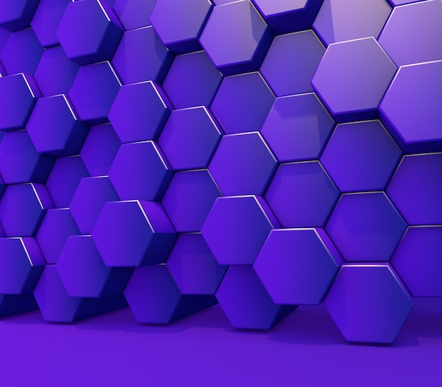 3d render of a wall of glossy purple extruding hexagon shapes