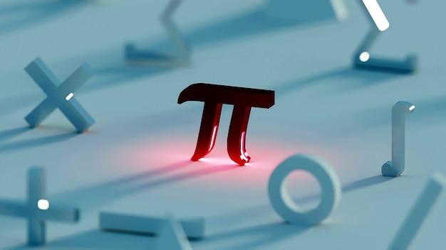 3d рендеринг обоев темный математический символ сосредоточен на красном пи