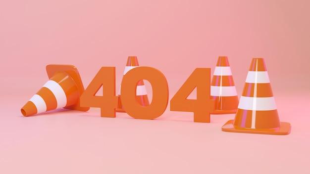 오렌지 파스텔 배경에 트래픽 콘으로 3d 렌더링 웹 페이지 오류