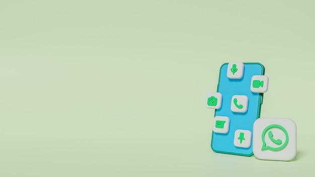 채팅 아이콘이 있는 3d 렌더링 whatsapp 로고 버튼