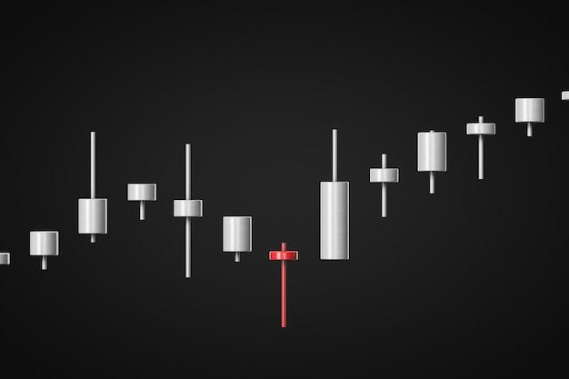 3d визуализация белая и красная растущая диаграмма котировок на черном фоне