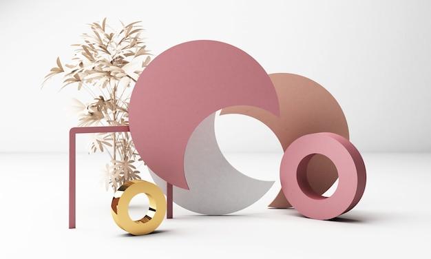 기하학적 형태와 3d 렌더링 흰색 배경입니다. 골드와 핑크 파스텔 컬러의 블랙 글래스 프로모션이나 제품 쇼를위한 트렌디 한 디자인.