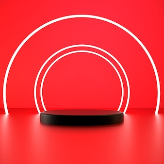 3d render white circle with black pedestal on red background premium photo