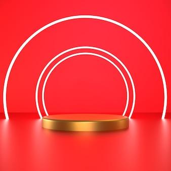3d визуализация белый круг с золотым постаментом на красном фоне premium фотографии