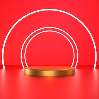 3d render white circle with gold pedestal on red background premium photo