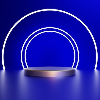 3d render white circle with silver pedestal on blue background premium photo