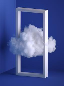 3d 렌더링, 사각형 프레임을 통해 비행하는 흰색 솜 털 구름. 최소한의 실내 인테리어. 공중 부양