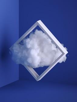 3d 렌더링, 사각형 프레임을 통해 비행하는 흰색 솜 털 구름. 최소한의 실내 인테리어. 공중 부양 개념.