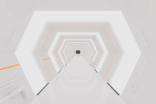 3dレンダリング。白い未来の宇宙船内部回廊