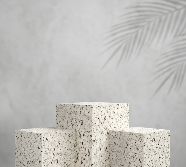 3d render white granite podium with leaf palm,abstract background, pedestal for brand product exhibition.