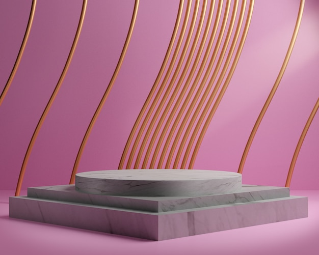 3d render of white marble pedestal isolated on pink