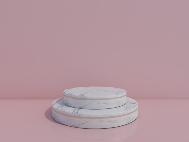 3d render white marble podium isolated on light blue background