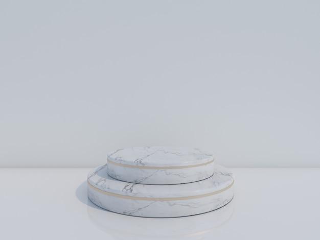 3d render white marble podium isolated on white background