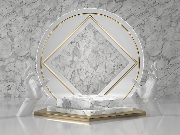 3d render of white marble podium with hands