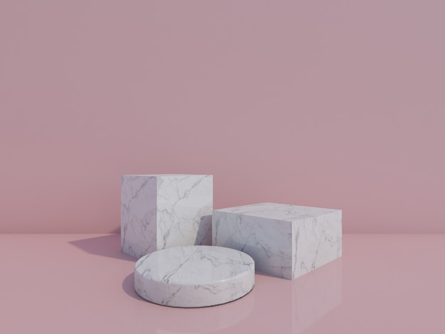 3d render white marble podiums isolated on light pink background