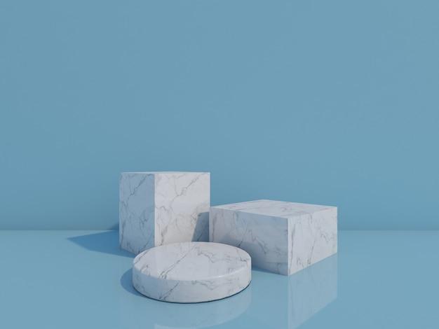 3d визуализация белых мраморных подиумов на синем фоне