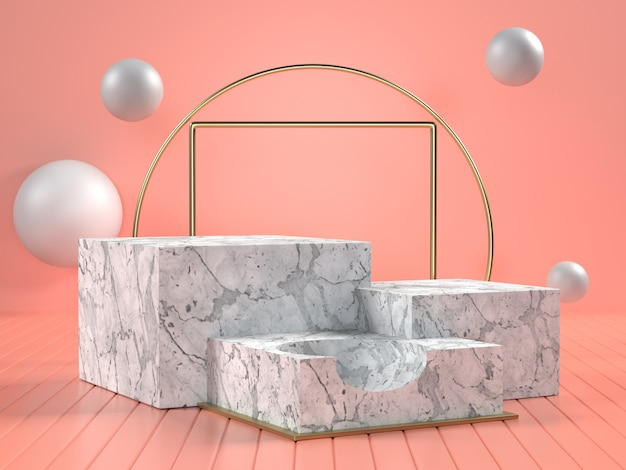 3d render of white marble podiums with hands