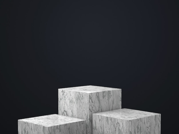 3d render of white marble round pedestal isolated on black wall, gold frame, memorial board, cylinder steps, abstract minimal concept, blank space, clean design, luxury minimalist