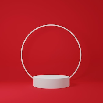 3dレンダリング白い表彰台とその上の白いリングは赤い背景で隔離
