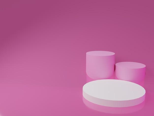 ピンクの背景に3dレンダリングの白い表彰台