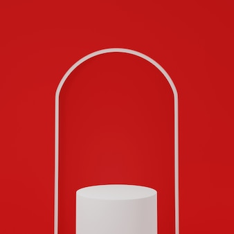 3dレンダリング白い表彰台は赤いアーチ型の背景で分離