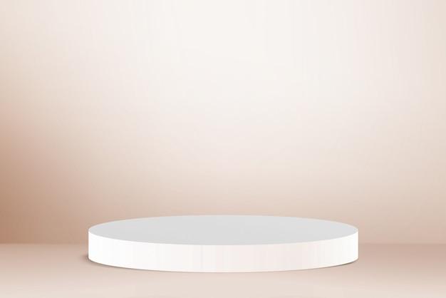 3d render white podium on light gold background