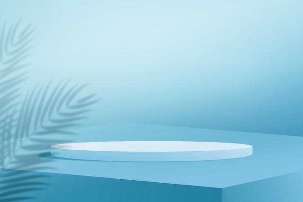 水色の背景にヤシの木の葉の影と3dレンダリング白い表彰台