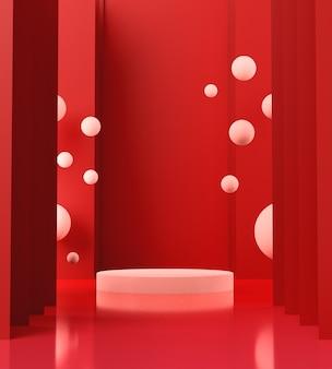 3dレンダリングの白い表彰台、赤い背景、抽象的な背景、ショーブランド製品の台座。