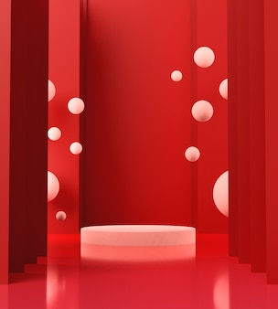 3d render white podium with red background, abstract background, pedestal for show brand products.