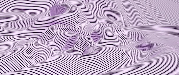3d render of white and purple cloth. iridescent holographic foil. abstract art fashion background.