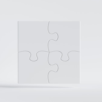3d render of white puzzle game pieces connected together