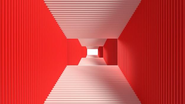 계단의 3d 렌더링 흰색 빨간색 배경