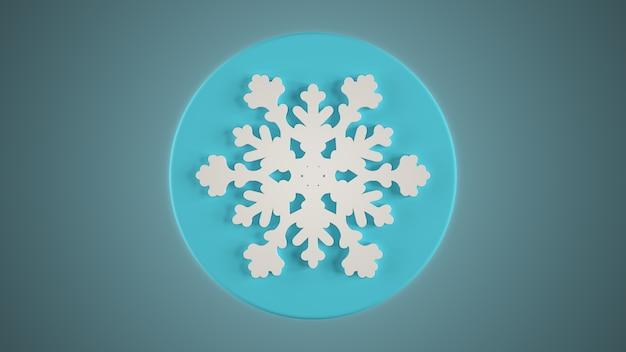 青い背景に白い雪の結晶を3dレンダリング