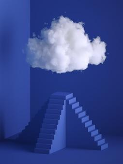 3d render, white soft cloud above the pyramid pedestal.